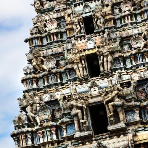 Gopuram at a Hindu Devale in Kandy, Sri Lanka