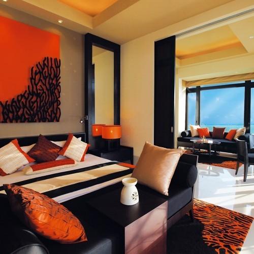 Indoor living space of an In-Ocean Pool Villa, Angsana Velavaru, Maldives